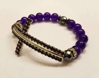 Sideways Cross Bracelet . Amethyst Bracelet. Catholic Bracelet. Purple Bracelet. Cross Bracelet. Religious Bracelet. Religious Gift. #HP31
