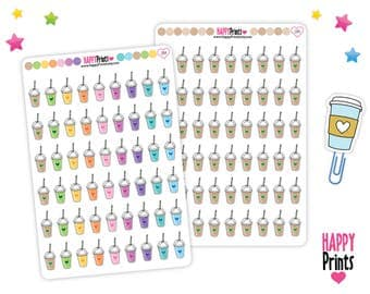 Doodle Frozen Drink Stickers, Frapuccino Planner Stickers, Smoothie Planner Stickers