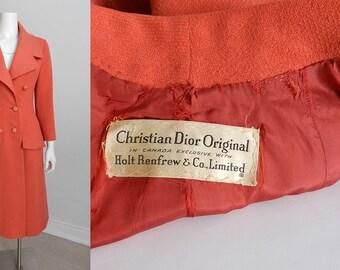 Vintage Christian Dior 1950's Salmon Wool Coat