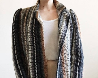 70's boucle knit blazer with puff sleeves I. MAGNIN / striped jacket / vintage chunky knit sweater jacket