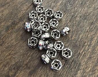 5mm Rhinestone Crystal AB Rondelle Spacer Beads, Gun Metal/Black Tarnished, 10 Piece Rhinestone Spacers, Vintage Antiqued Style