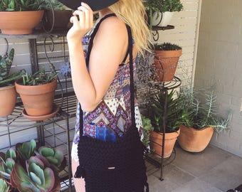 Black chunky knit boho bag