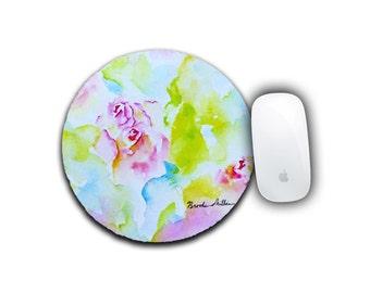 Flower Mousepad, Office Decor, Round Mousepad, Computer Mousepad, Watercolor Rose, Computer Accessory, Floral Decor, Mousepad, Desk Decor