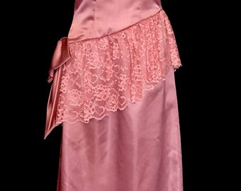 An 80's Rose Satin Formal Gown               VG270
