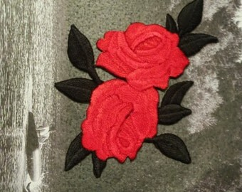 Iron on patch Rose patch Embroidered patch Red Rose Flower patch, Rose applique, Small patch, Flower applique