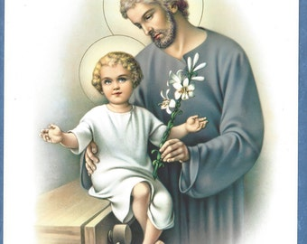 "St. Joseph and Child Jesus Religious picture Print  - 8"" x 10"" art ready to frame"
