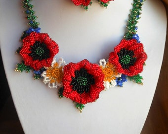 Bright flower necklace Summer necklace Red flowers necklace Beaded necklace Poppies Daisy necklace Flower jewelry Colorful necklace