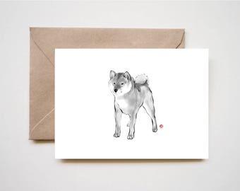 Handsome Shiba Inu card,Animal illustration  Sumi-e Painting B&W Asian Japanese Zen theme Dog