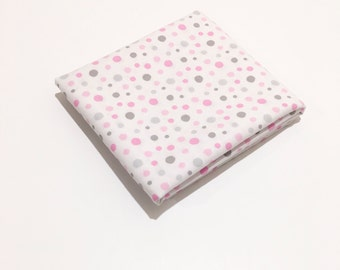 Pink and Gray Scatter Dots Fabric - Pink and Gray Polka on White for Baby Nursery, Bedding or Crafts by the Fat Quarter, Half Yard or Yard