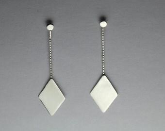 Sterling Silver Box Chain Diamond Shaped Geometric Mirror Earrings