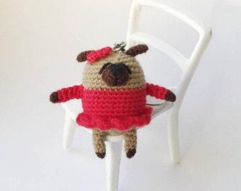 Keychain dog Keychain pug Amigurumi pug Crochet toy Crochet dog Crochet pug Miniature pug Сute keychain Crochet keychain Red Pug accessories
