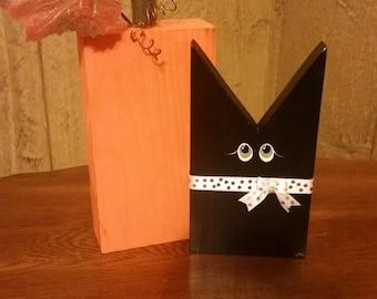 Wood Block Pumpkin and Black Cat