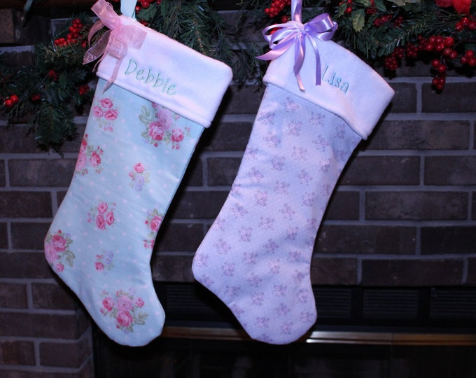 Shabby chic Christmas stockings,Blue Christmas Stocking,Pink Christmas Stocking,Christmas Decor,Personalized stockings,