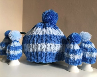 Striped Blue Tea Cosy and Egg Cosy Set | Hand Knit in Cobalt and Baby Blue Wool