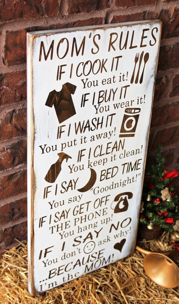Gifts for mom mom 39 s rules rustic wood sign by Christmas ideas for your mom