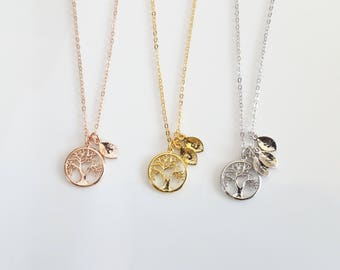 Tree of Life, Family Tree Necklace, Family Jewelry, Mom Initial Jewelry, Grandmother Gift, Necklace for Mom, Gold Tree of Life
