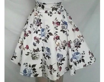 Elegance - Floral Handmade Full Circle Swing Skirt - 1950's Pin up Vintage Style - High Waisted Custom Fit