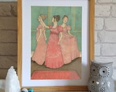 Illustration Art Print - Jane Austen Art - Regency Art - Illustration of Dancing - Fashion Print - Wall Art - Regency Fashion Print