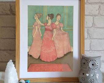 Illustration Art Print - Jane Austen Art - Regency Art - Illustration of Dancing - Fashion Print - Wall Art - Regency Fashion Print