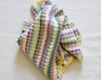 Crochet Baby Blanket, Crochet Blanket,  Pastel Colours, Stripe Blanket, Pure Wool Blanket, Baby Mat, Pram Blanket, Quilt - READY TO SHIP