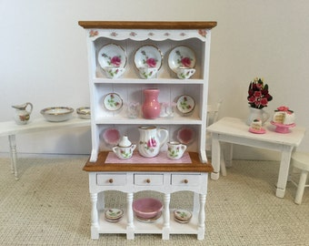 ON SALE Pretty Hutch in Pink Accents for 1:12 Scale Dollhouse