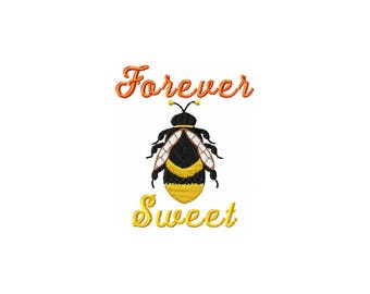 Forever Sweet Honey Bee Embroidery, digital download