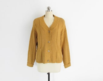 vintage mustard yellow cardigan, silk & cotton knit sweater, 90s ann taylor - womens s / m / l