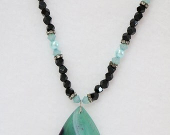 "Stripped Green Agate necklace 22"" long .         N-31"