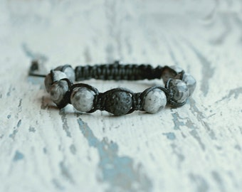 shamballa man bracelet beaded grey shamballa men gift for him idea father friendship bracelet boyfriend jewelry marble boyfriend gemstone