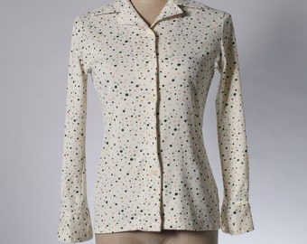 Vintage cream yellow sports blouse in colourful dot print