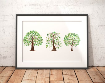 family of trees abstract watercolor trees living room decor abstract tree art print nature wall art tree of life green watercolor art print