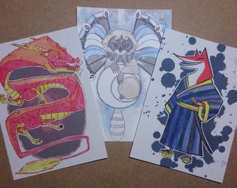 Postcard Print Illustrations Ink and Watercolour Fox Raccoon Dragon