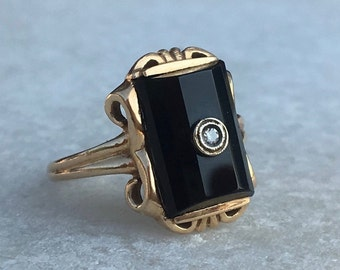 Mid Century Faceted Onyx Ring