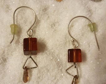 Brown glass modern drop earrings.  Silver plated ear hooks. Trending now! Mother's Day!