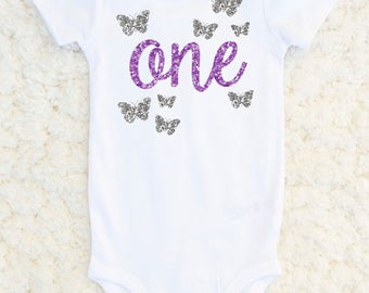Butterfly First Birthday Outfit Girl - First Birthday Shirt Girl - 1st Birthday Butterfly Outfit - Birthday Cake Smash - Baby Girl Shirt