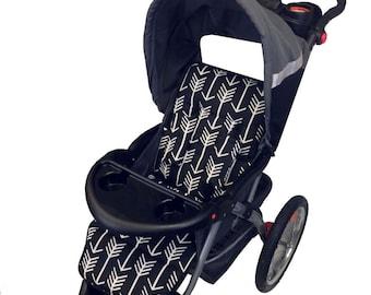 Black Arrows Stroller Liner - Reversible to Black Minky