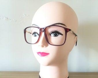 Wayfarer Eyeglasses Brown Oversized Eyeglasses Wine eyeglasses Retro Large glasses Oxford Vintage Gold eyeglasses Big Spectacle Nerd Frames