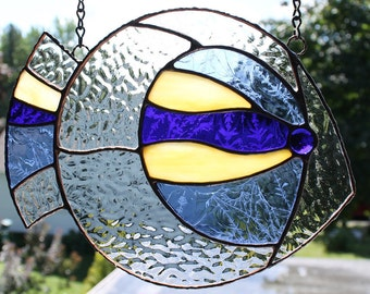 FISH 5 / Blue -Yellow Fish, stained glass suncatcher, a unique piece of art