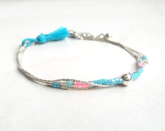 Bracelet with blue tassel and 3 sterling silver chain 925 with blue beads and pink marble beads current delicate fine silver