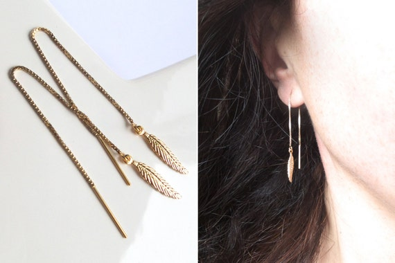 Chains of gold plated pen 14 KT gold filled style boho quality ears sober elegant different woman Threader earrings