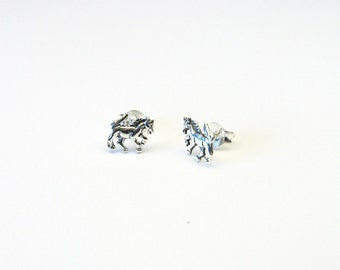 Horse horses Stud Earrings Silver 925 Sterling Silver 925 horse earring