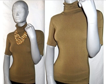 Michael Short Sleeve Figure-Hugging Brown/Green Stretch Jersey Turtleneck Blouse Shirt M/L