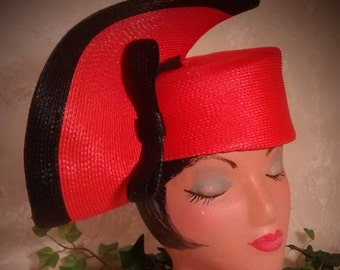 Ladies Vintage Red Straw Hat Trimmed in Black