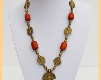 ASHANTI DOLLAR NECKLACE - Artisan African Ashanti Bronze beads & Faux amber necklace. West Africa