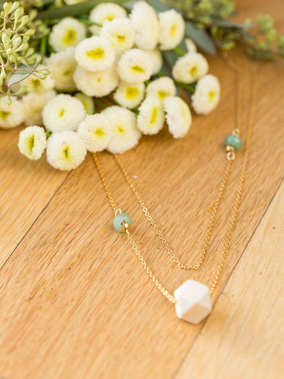 Essential Oil Diffuser Necklace with choice of Essential Oil Blend // Layered Wood & Double Gemstones on Gold Chain