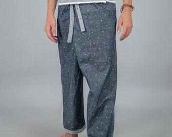 Thai Fisherman Pants REVERSIBLE / Thai Pants / Harem pants / Samurai Pants / Yoga pants / กางเกงเล Soft light Thai cotton boho Asian wrap