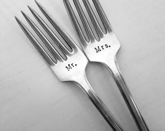 Mr & Mrs Forks, Wedding Forks, Hand Stamped Fork, Vintage, Silverplate, Bride, Groom, Wedding, Bridal Shower, Gift, Present, Cake Forks,