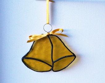 Golden Wedding Bells, stained glass suncatcher, window sun catcher, mobile wall decor art, best selling items, Yellow hanging decorations,