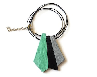 Mint necklace pendant, Geometric statement necklace, Gift for wife, Modern necklace geometric, Geometric jewelry, Mint, Black, Silver
