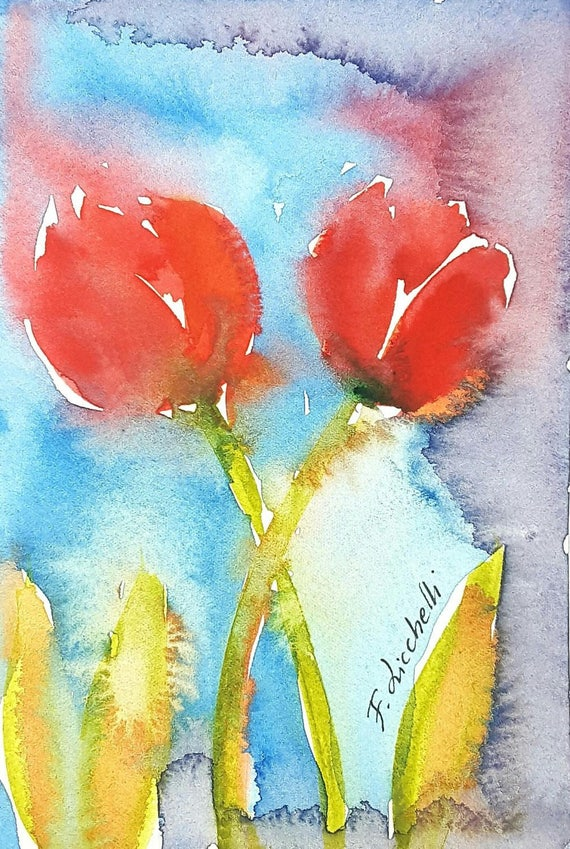 Red tulips, original watercolor by Francesca Licchelli, little picture, dining room or bedroom decoration, art, gift idea for her birthday.